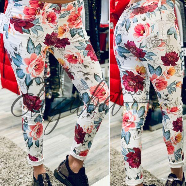 бял еластичен панталон на цветя elizabet.bg