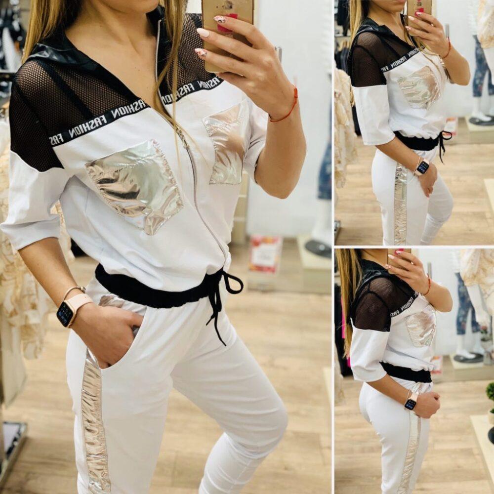 дамски бял спортен гащеризон със сребсто пролет-лято Elizabet Queen's Fashion