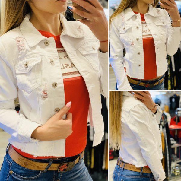 Бяло дънково яке