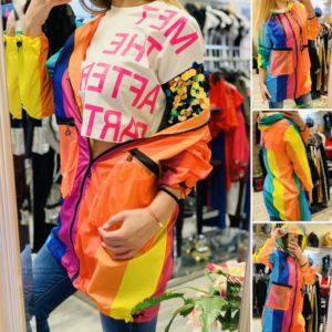 Яке на многоцветни райета с дъждобран