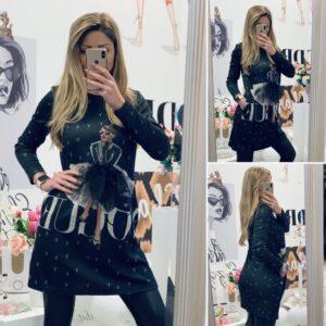 Черна рокля Vogue с балерина
