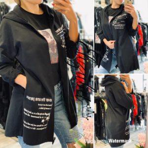 Черно раздвижено яке без цип