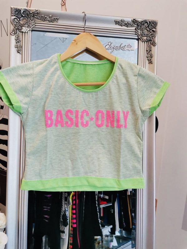 Зелена къса тениска розов basic elizabet.bg