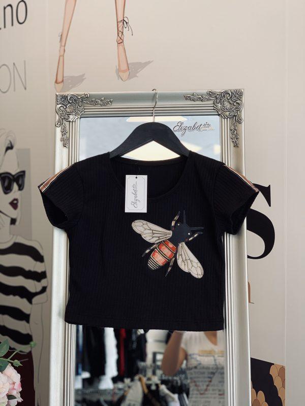 Къса черна тениска с пчеличка елизабет.бг