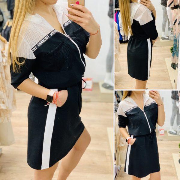 спортна трикотажна рокля черно и бяло елизабет.бг
