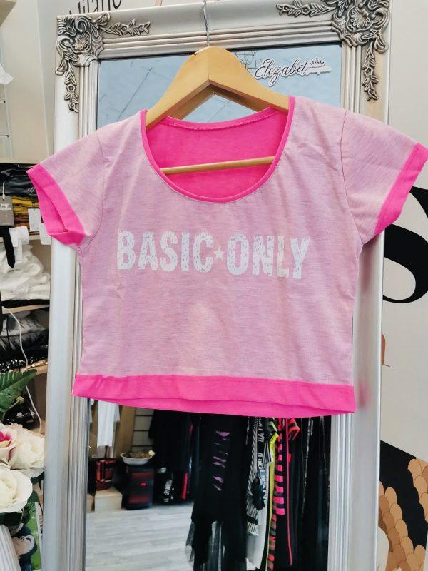 Къса розова тениска бял basic elizabet.bg