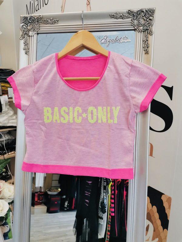Къса розова тениска неонов Basic elizabet