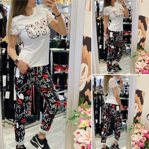 Тениска NO и спортен панталон с надписи elizabet