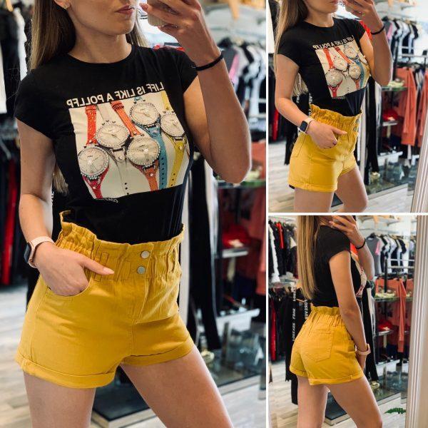 Черна тениска и жълти панталонки елизабет.бг