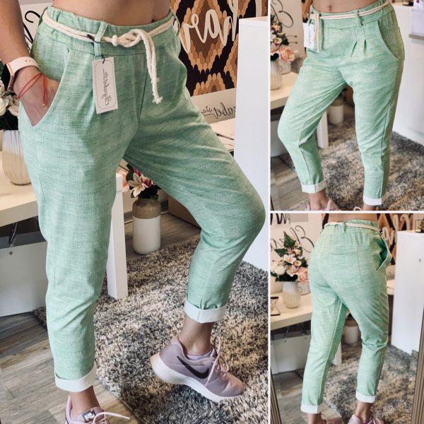 Зелен памучен панталон с коланче елизабет.бг