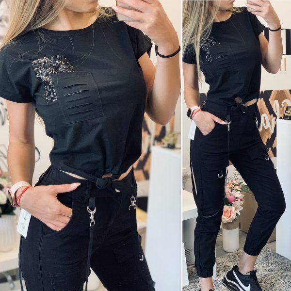 Къса черна тениска с пайетi елизабет.бг