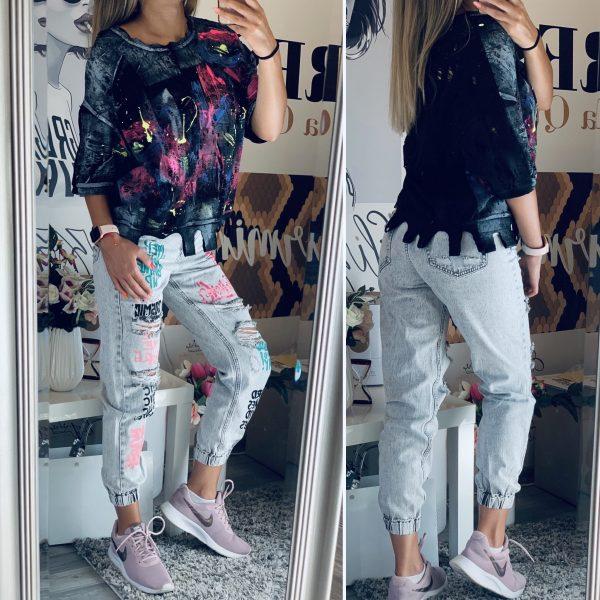 Ефектна блуза и сиви дънки с надписи елизабет.бг