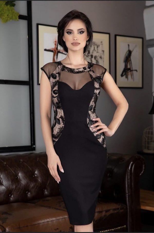Стилна черна рокля с бежови елементи elizabet.bg