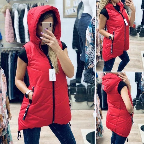 Червен шушляков елек средна дължина elizabet fashion