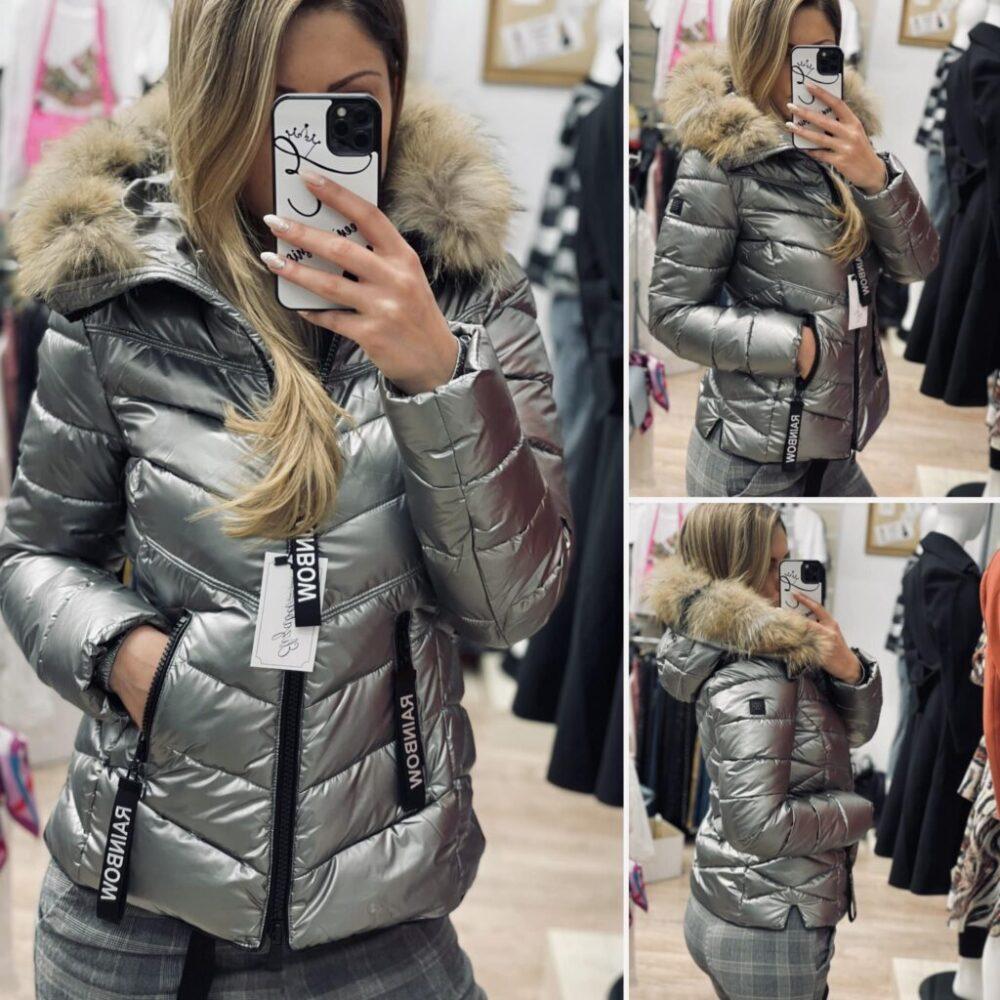 Късо яке сив металик с естествен пух elizabeth fashion