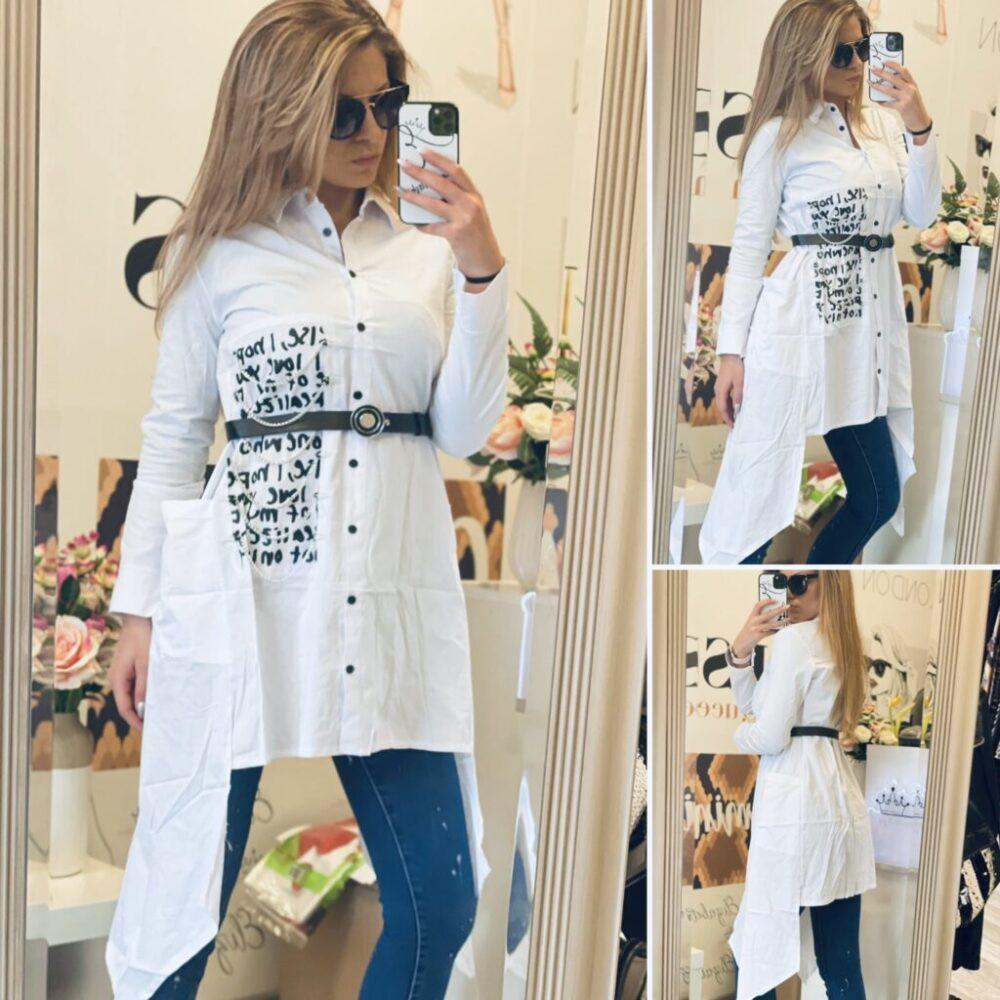 Бяла асиметрична риза с надписи елизабет.бг