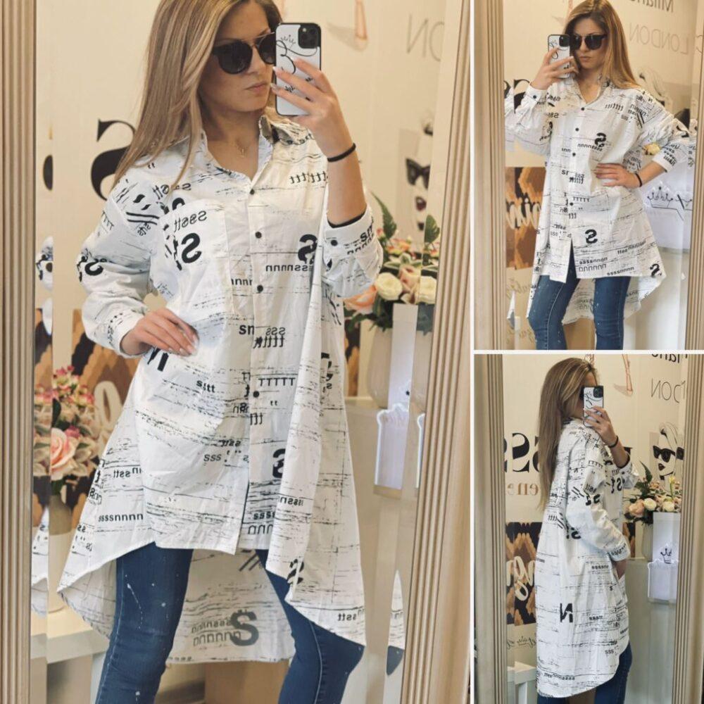 Бяла Oversize риза-туника с надписи елизабет.бг