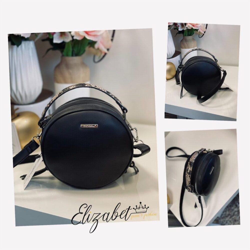 Кръгла черна чанта със змийско elizabet.bg