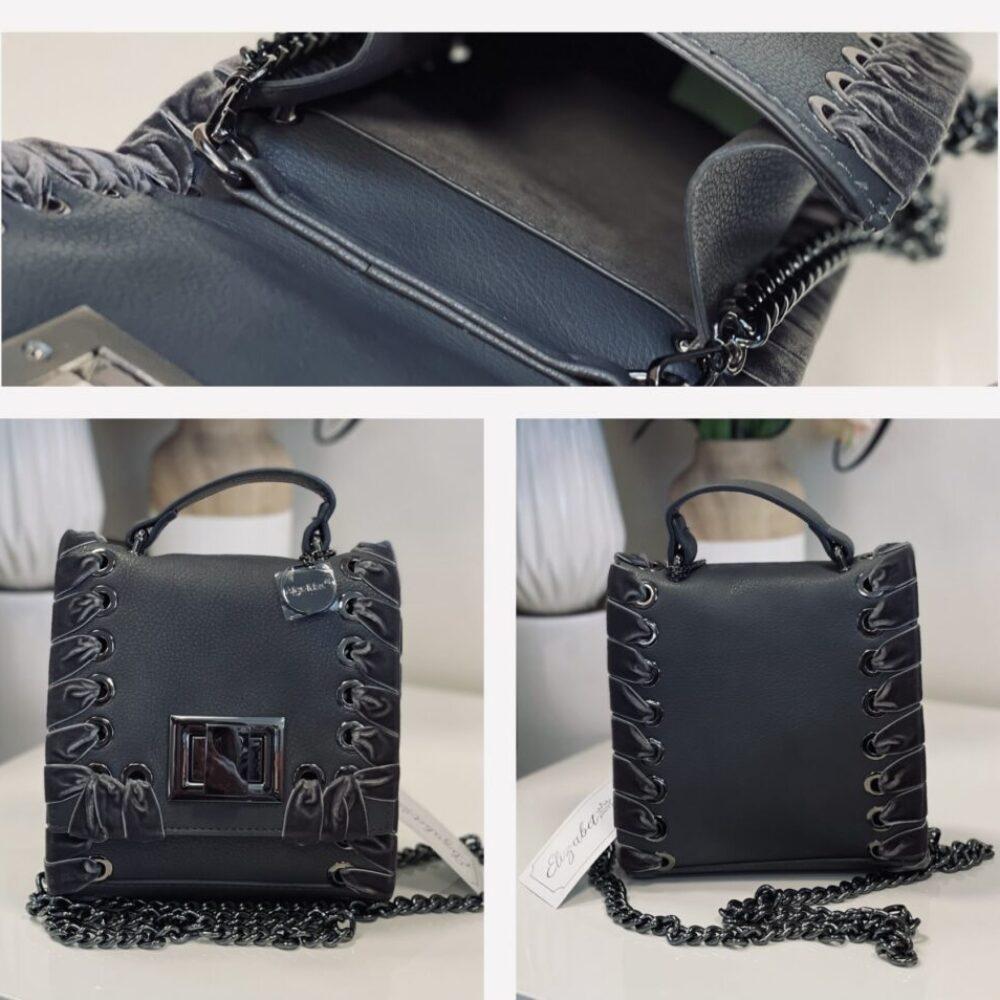 Малка сива чанта с кадифе elizabet queen's fashion