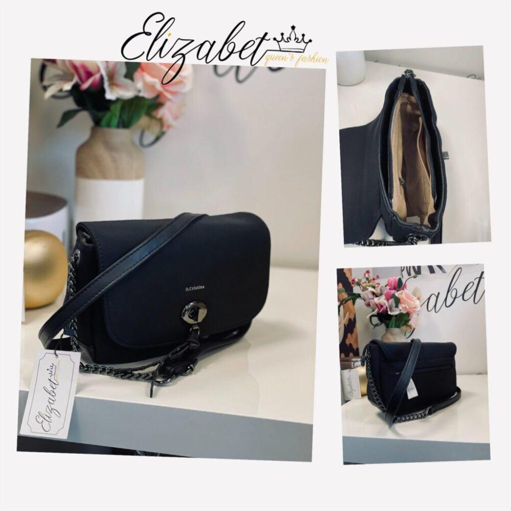 Малка черна чанта със сребристо елизабет