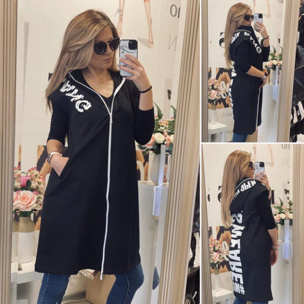 Черен памучен елек BANG elizabet fashion