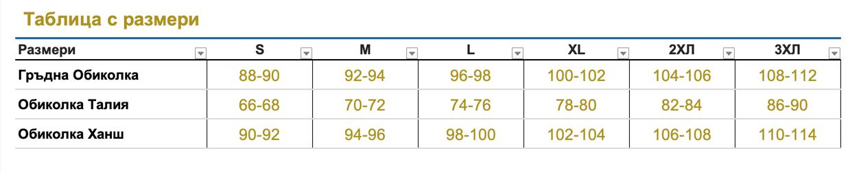 Таблица с размери S - 3XL