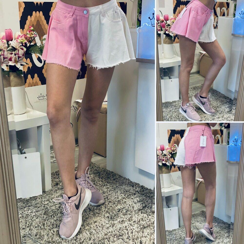 Къси панталони в бяло и розово elizabet queen's fashion
