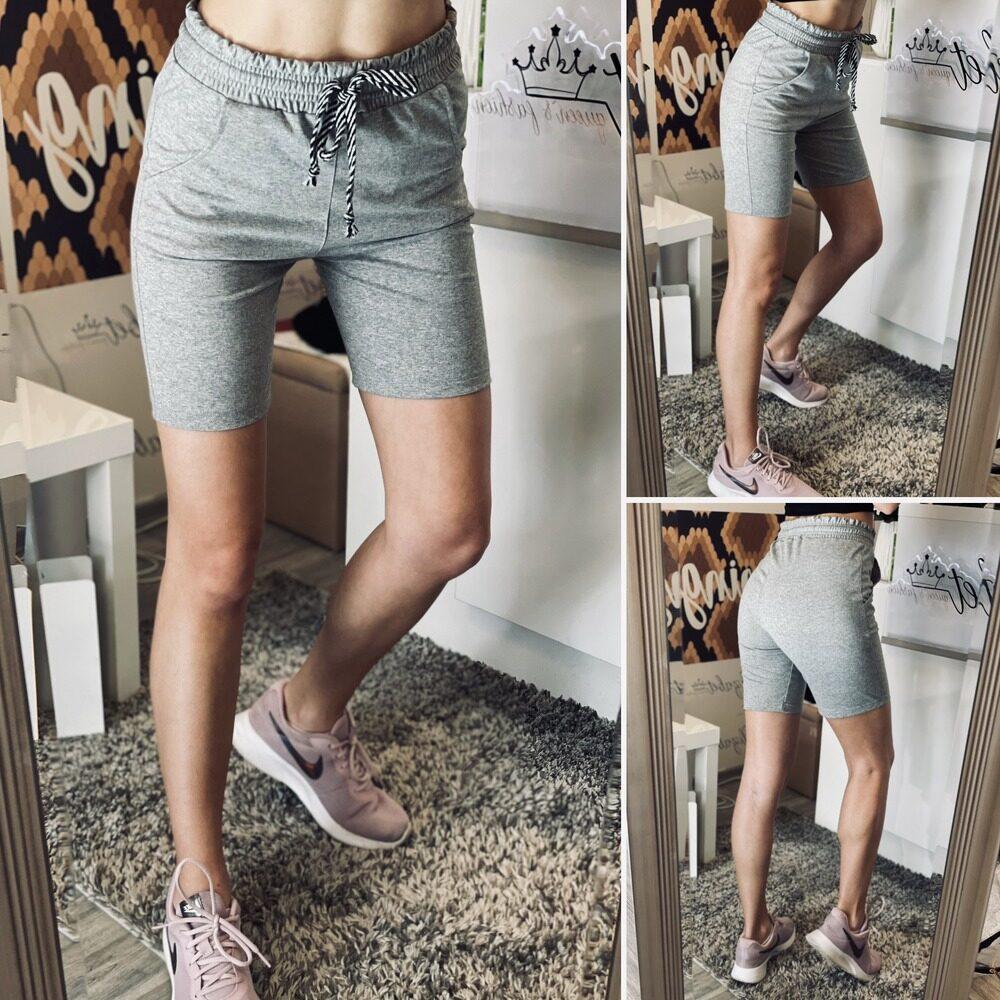 Къси 3/4 памучни панталони в сиво elizabet fashion