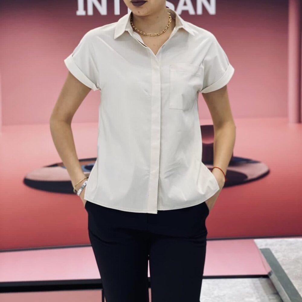 Риза с къс ръкав в екрю елизабет куинс фешън