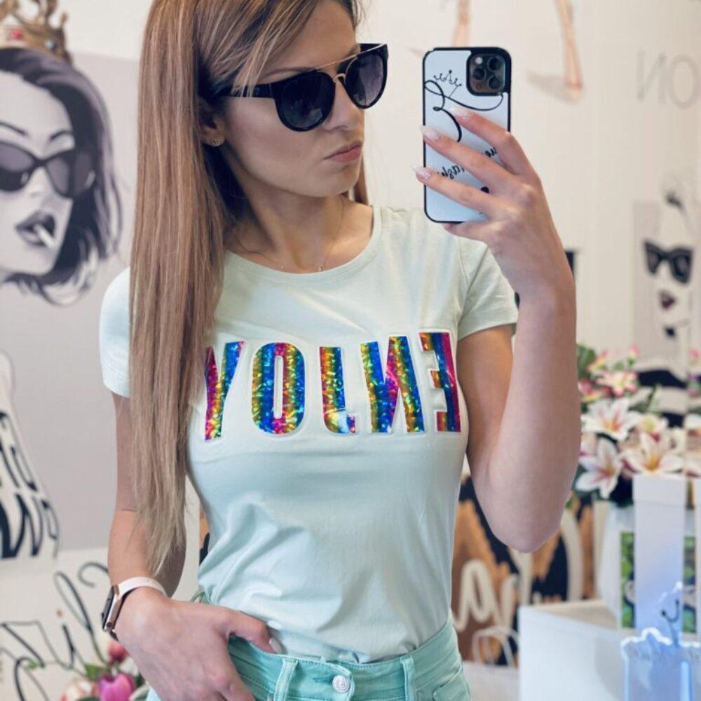 Тениска в цвят мента Enjoy елизабет бг