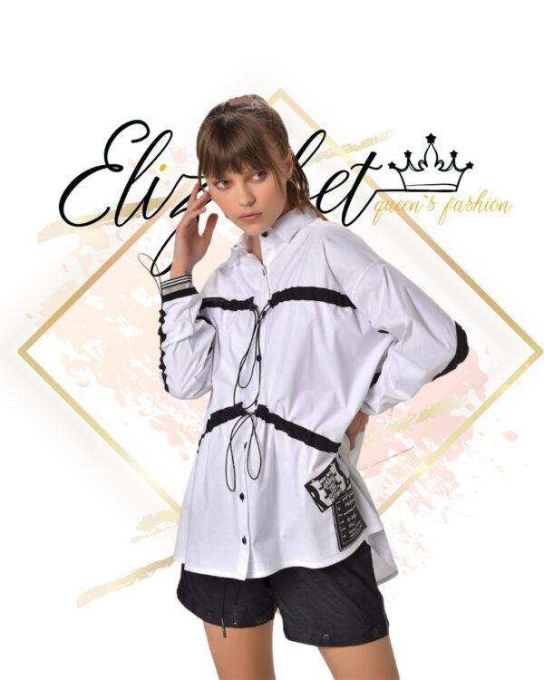 Бяла риза с черни елементи elizabet.bg