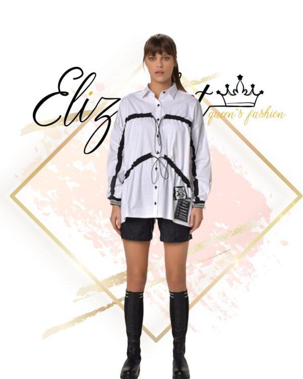 Бяла риза-туника с черни елементи елизабет фешън