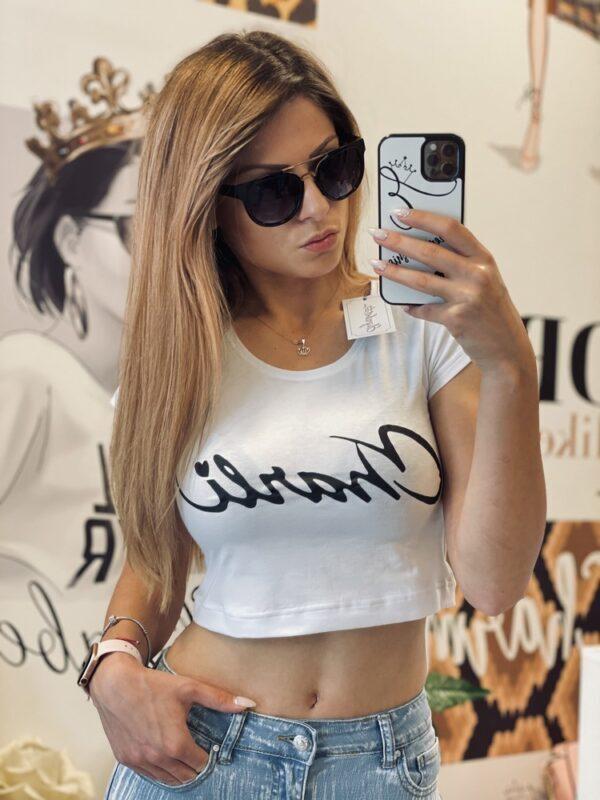Къса бяла тениска Charli elizabet.bg