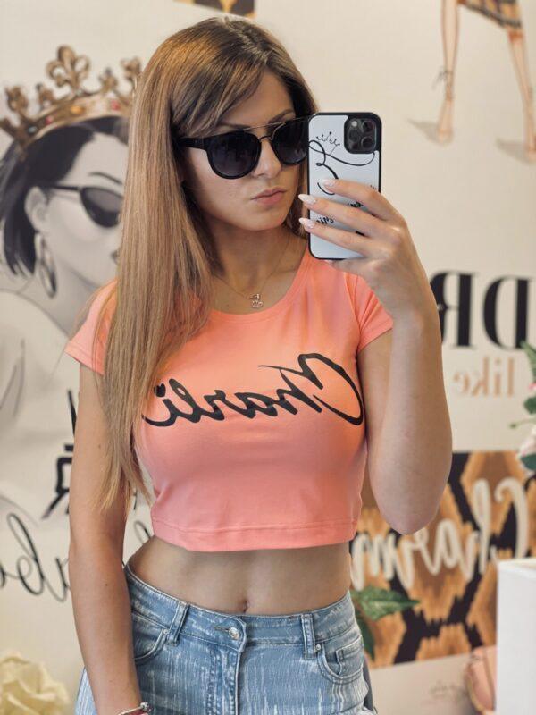 Къса прасковена тениска Charli elizabet