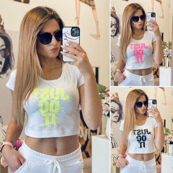 Къса тениска в бяло Just Do It elizabet fashion