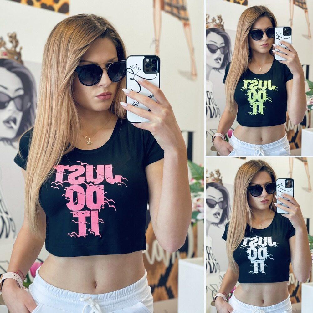 Къса тениска в черно Just Do It елизабет