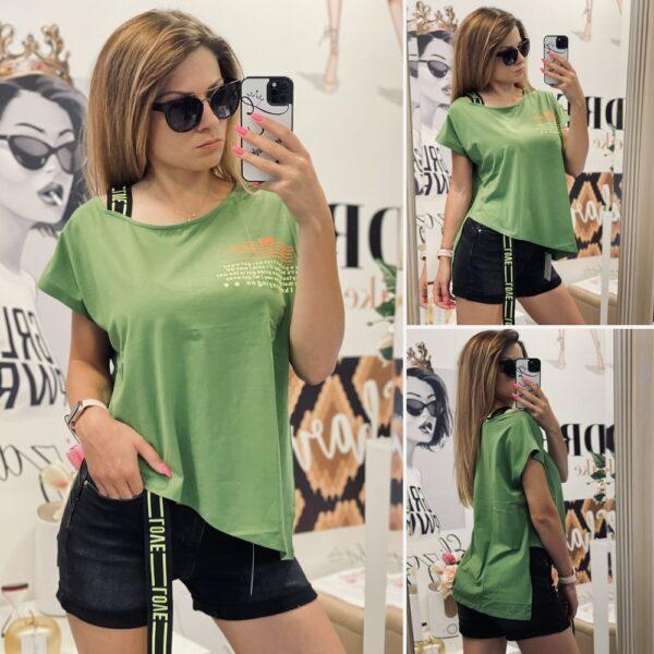 Асиметрична тениска с неонови надписи в зелено елизабет.бг