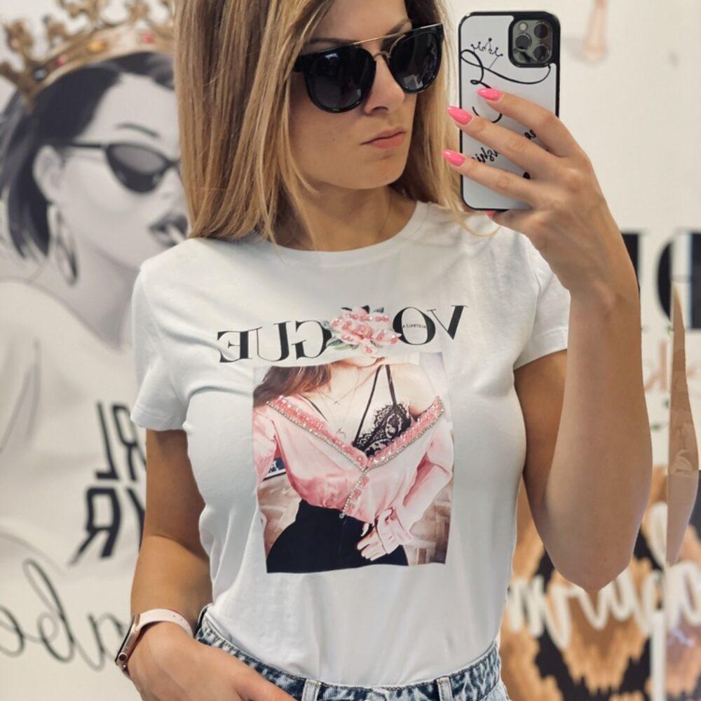Бяла тениска Vogue Girl elizabet queen's fashion