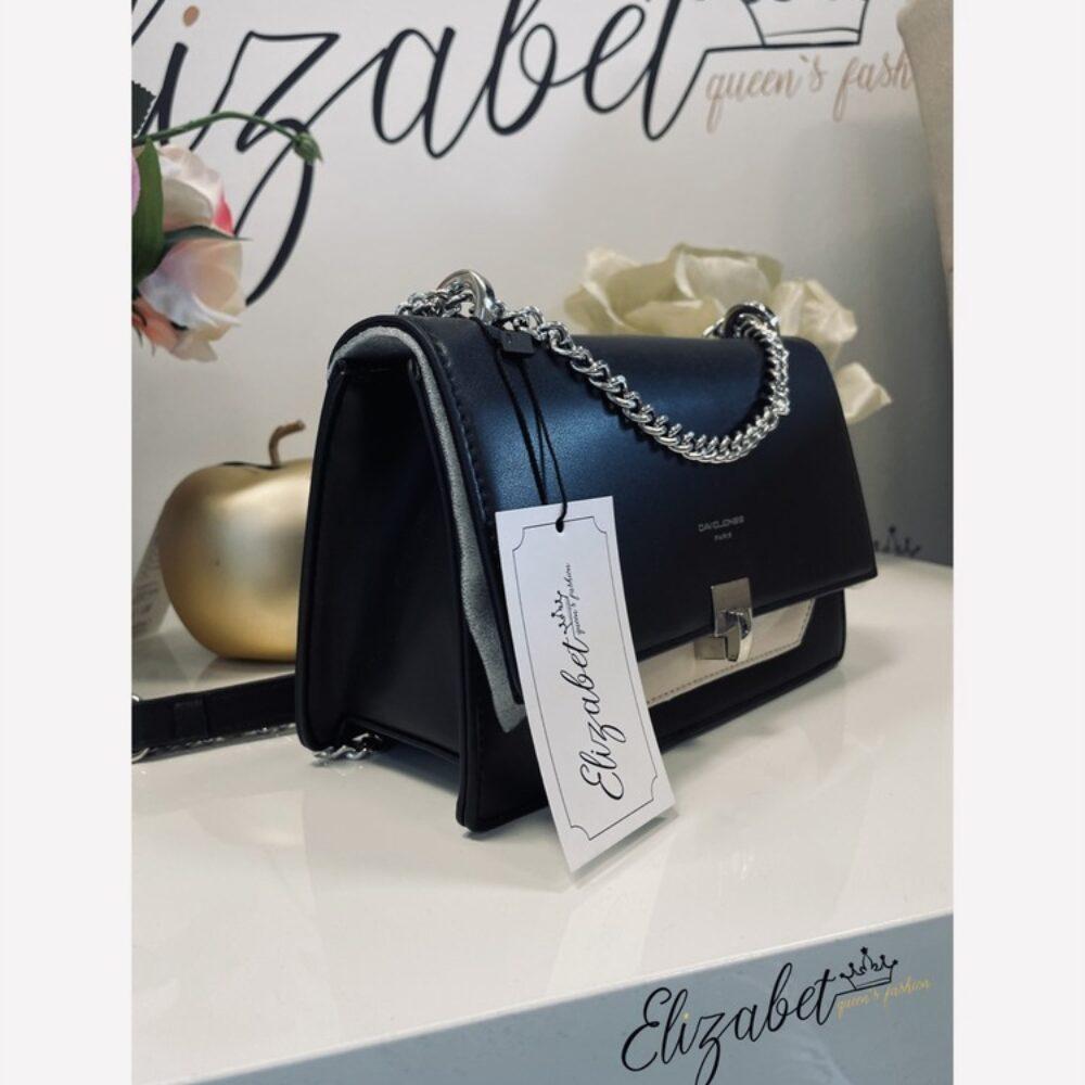 Стилна чанта в черно и бежово със синджир елизабет online