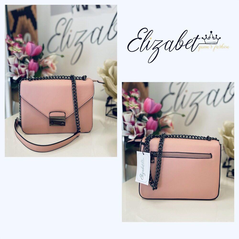 Чанта в нежно розово със синджир елизабет online магазин
