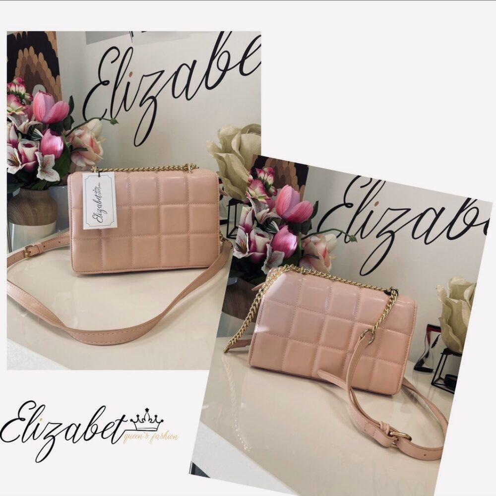 Чанта от розов лак със златисто елизабет.бг