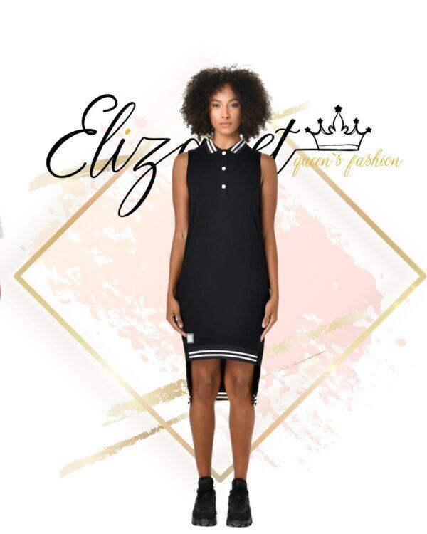Черна памучна рокля с якичка елизабет.бг