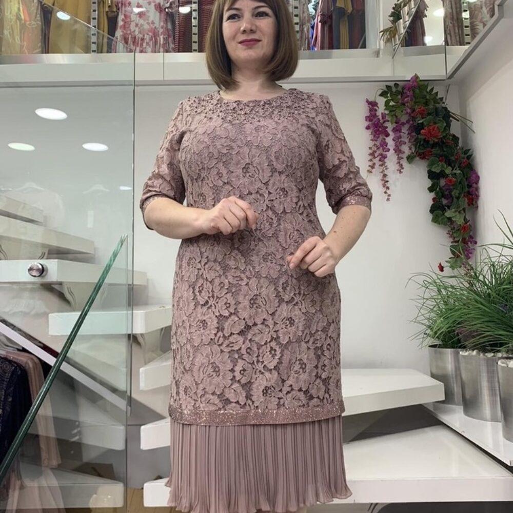 Дантелена рокля в пепел от рози батал elizabeth