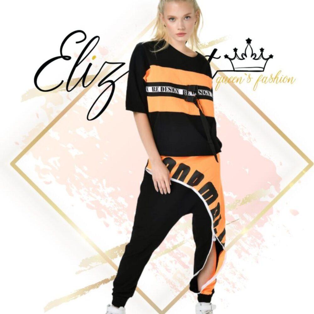 Долнище тип потур в черно и оранжево elizabeth