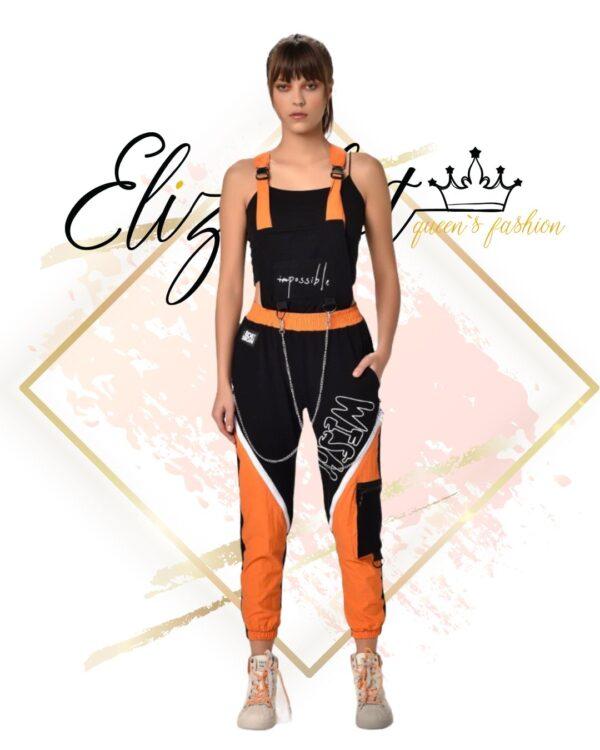 Спортен гащеризон в черно и оранжево elizabet fashion
