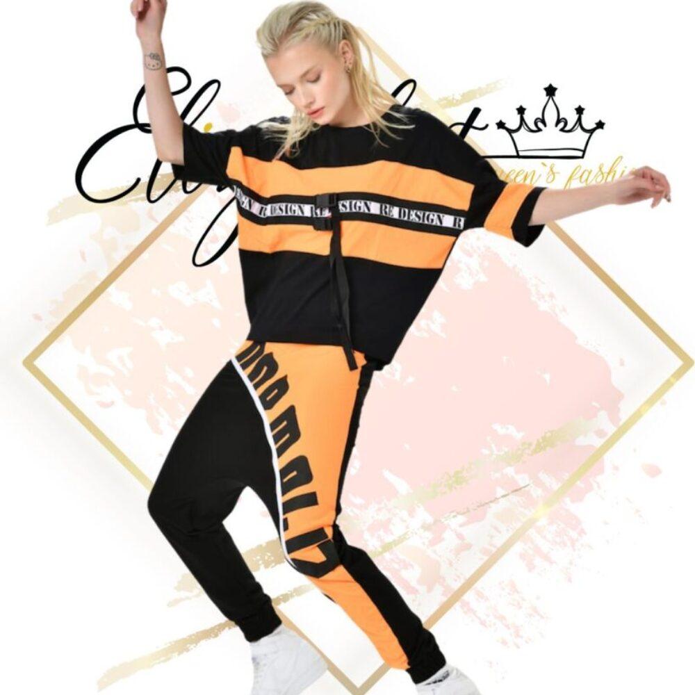 Спортна блузка в черно и оранжево елизабет