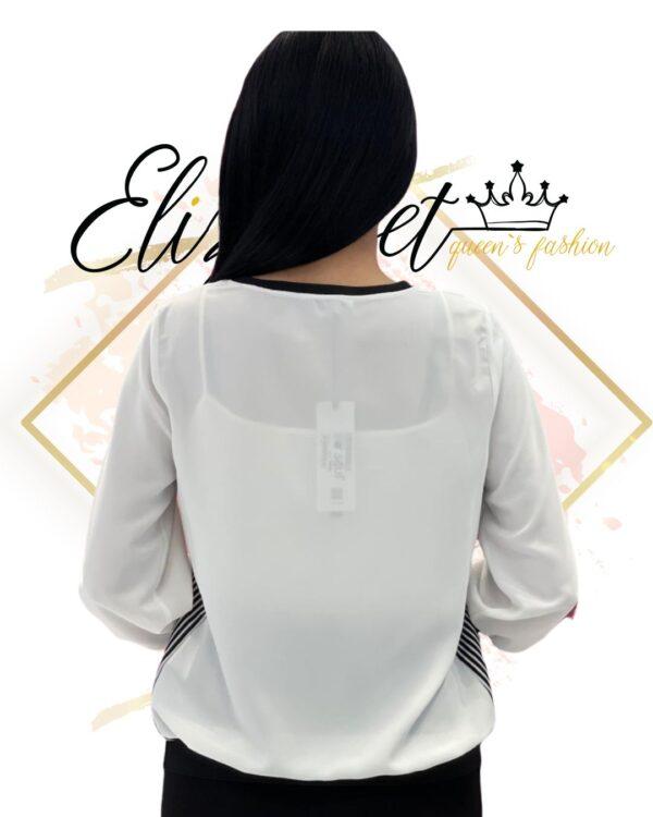 Бяла блузка с райе elizabet queen's fashion